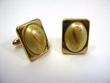 Vintage Manschetten: Initialen BUCHSTABE S Retro Goldfarben Stil