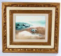 Landscape Sea Scene Oil on 8 x 10 Canvas Signed Gold Gilt Frame