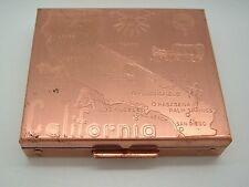 Vintage Makeup Compact California State Map Western Theme Copper Tone