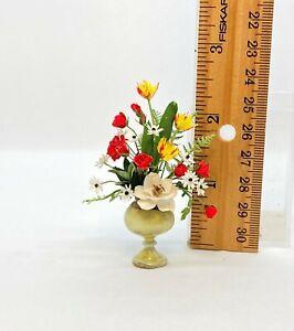 Dollhouse miniature 1/12th scale arrangement in hand blown glass vase