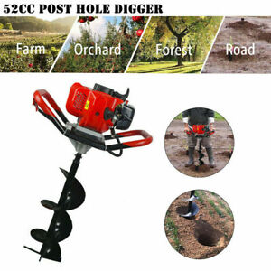 Petrol Earth Auger Fence Post Hole Borer Ground Drill Bits Extension Pole 52CC