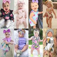US Newborn Baby Girls Floral Romper Bodysuit Jumpsuit Outfits Sunsuit Clothes