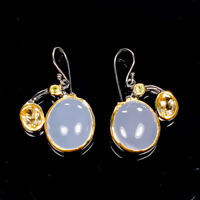 Vintage SET Natural Chalcedony 925 Sterling Silver Earrings /E36967