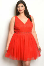 Womens Plus Size Red Lace Cocktail Dress 3XL Cold Shoulder Embellished