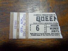 Queen Dec 6,1978 Concert Ticket Stub Rare