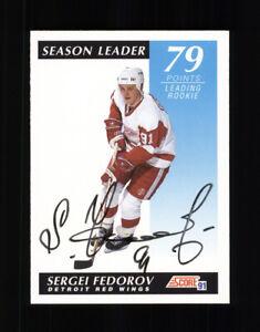 AUTOGRAPHED 1991-92 SCORE SERGEI FEDOROV SEASON LEADER - DETROIT RED WINGS