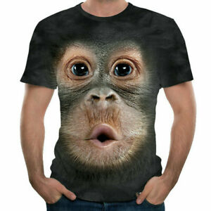 Fashion Men Funny Gorilla Monkey 3D Printed T-shirt Casual Short Sleeve Top UK