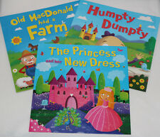 Set 3 Toddler Childrens Baby Girls Picture Nursery Rhyme Fairy Tale Story Books