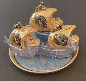 Vintage Lusterware Japan Salt Pepper Sugar Condiment Boat Set birds