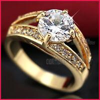9K GOLD GF 2CT WEDDING DRESS COCKTAIL BAND RING made with SWAROVSKI CRYSTAL GIFT
