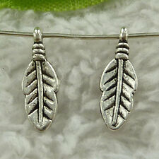 free ship 840 pieces tibet silver leaves charms 16x6mm #3439