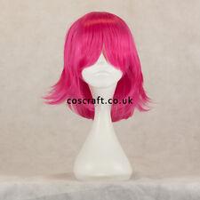 Película de medio Juegos con disfraces Disfraz Peluca en Fucsia Color de rosa caliente, vendedor del Reino Unido, estilo ceniza