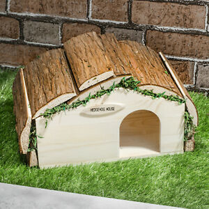 Wooden Barkwood Fir Wood Hogitat Hedgehog House Shelter Hibernation Nest Box UK