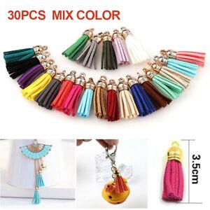UK 30Pcs Tassel Handbag Key Chain Key Ring Faux Leather Handbag Accessories Gift