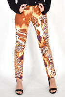 JUST CAVALLI Pantaloni Multicolore Eleganti Tg IT 39 UK 6 Donna Woman