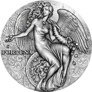 Fortuna Celestial Beauty 2 oz Antique finish Silver Coin Cameroon 2021