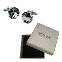 Mens Pair Of Silver Globe Cufflinks & Gift Box - Teacher Pupil Gift By Onyx Art