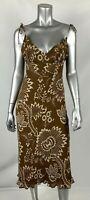 J.Crew Dress 2 Silk Brown Floral Spaghetti strap Sleeveless Lined Midi