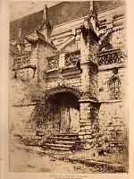 Lucien Seevagen gravure eau forte etching Porte D'église St Gilles