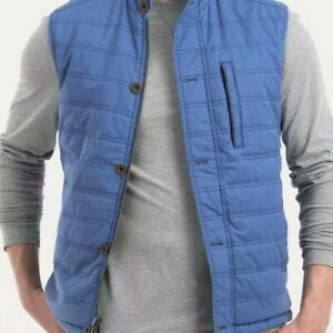 Johnnie O Berg Reversible Button Quilted  Vest WAXED Laguna Blue  MEDIUM $245