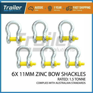 6 X BOW SHACKLE 11MM 1500KG S GRADE 9000KG BL RATED HAYMAN D TOW CAR TRAILER