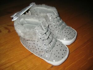 NEW baby girl's Rising Star silver glitter ankle booties boots shoes 9-12 months