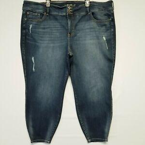 Torrid Jeggings 30S Distressed High Rise Dark Blue Denim Wash Women's Jeans