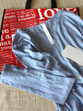 NWT Lululemon Superb Long Sleeve Tee Size 2 Heathered Blue Denim W/Red Large Bag