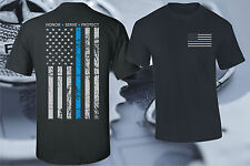 THIN BLUE LINE FLAG POLICE LIVES MATTER COPS OFFICER T-SHIRT USA PATRIOTIC FAY