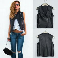 Fashion Women Sleeveless Punk Rock Biker Leather Vest Waistcoat Crop Tops Blouse