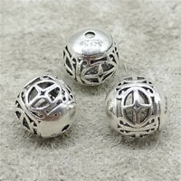 2pcs of 925 Sterling Silver Hollow Cross Round Beads