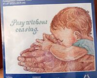 NIP Pray Without Ceasing Counted Cross  Stitch Kit Praying Baby Adult Janlynn