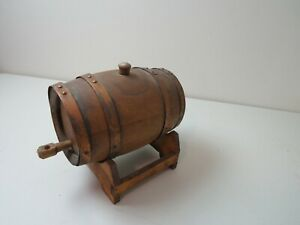 Vintage Small Oak Wooden Whiskey Barrel or Keg on Stand with Tap Sorority