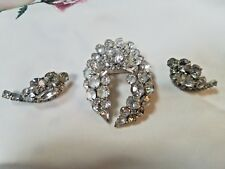 Vintage Prong Set Clear Rhinestones in Silver Tone Metal Broach Pin and Clip-on