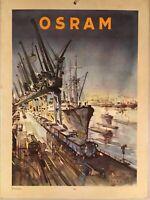 Osram Publicité Calendrier Welthafen Industriehafen Navires Hamburg ?