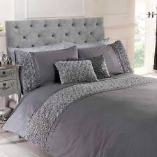 LIMOGES ROSE RUFFLE GREY KING SIZE DUVET COVER & PILLOWCASE SET