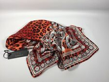 "Versace Wild Baroque Leopard Print Silk Foulard Scarf New! 34"" Red White Orange"