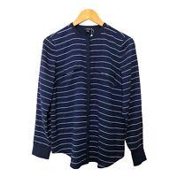 Nautica Women's Blouse Shirt Size USA(S) White Navy Striped Pattern Button Up