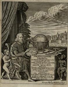 Title page Globe Phillip Cluver 1694 Mosting engraved portrait allegory