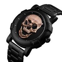 Skmei 9178 Fashion Skull Head Quartz Men Luxury Stainless Steel Waterproof Watch
