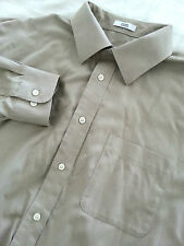 JOSEPH & FEISS Non Iron Beige Men's Long Sleeve Dress Shirt Size 17 1/2 EUC