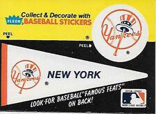 MLB BASEBALL N Y YANKEES TEAM LOGO & PENNANT STICKER 1980'S FLEER FAMOUS FEATS