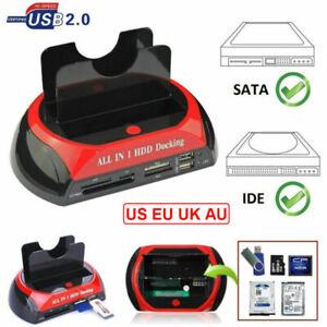 "HDD Docking Station 2.5"" 3.5""SATA IDE Dual USB 2.0 Clone Hard Drive Card Reader"