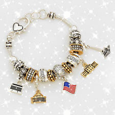 FASHION BRACELET Multi-Beaded American Flag Charm Bracelet