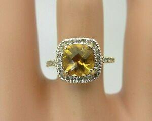 14K Yellow Gold yellow Citrine and Diamond Ring Halo 1.80 CT TW