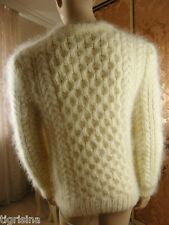 Mohair Hand Knit Men's White Cream Crewneck Pullover Sweater Jumper; size L