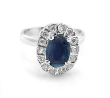 925 Sterling Silver Blue Sapphire Ring Natural Halo Gemstone Size 4-11