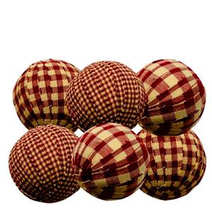 Red Green Plaid Homespun Primitive Rag Balls 2.5 inch Bowl Filler