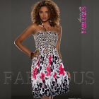 Sexy Floral Flower Leo Animal Print Dress Summer Casual Size 2 4 6 8 10 XS S M