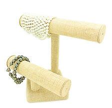 """US Seller~10""""WX8 1/4""""H Beige Linen Burlap Double T-Bar Jewelry Display"""